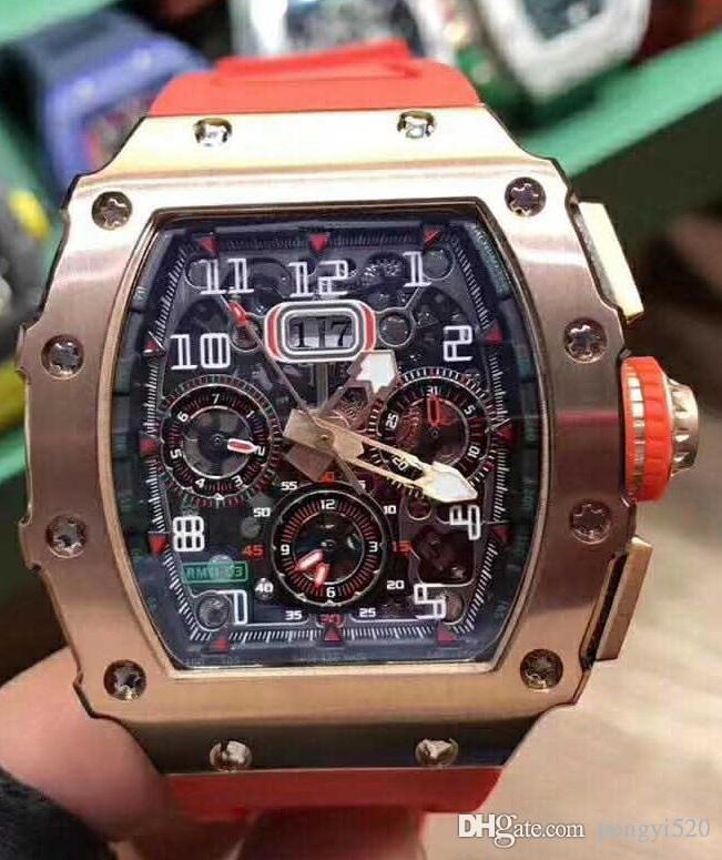 LCD10 Tasarımcı Flyback Chronograph RM11-03 serisi saatler, Hareket içi boş tasarım, 316L ince çelik gövde, xietiecheng hareketini saatler,
