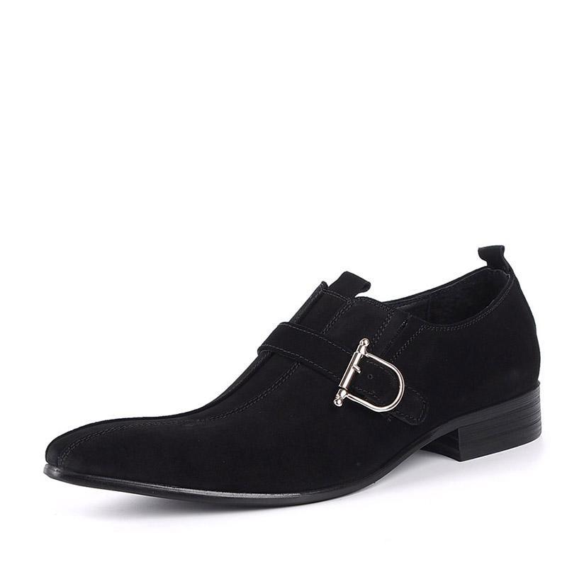 Moda Erkekler Elbise Süet Gerçek Deri Toka Kayış Sivri Burun Siyah / Brwon Erkekler Rasgele Düğün İş Ayakkabıları