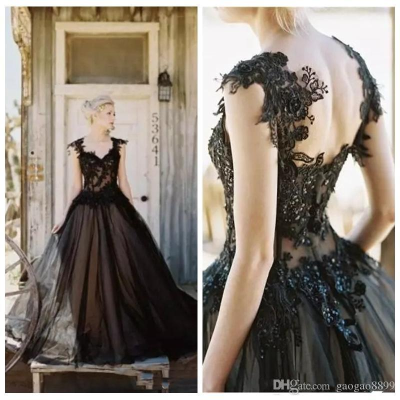 2019 Vintage Elegant Black Tulle Lace Applique Gothic A-line Wedding Dresses Cheap Gothic Beaded Backless Long Bridal Gowns Custom made