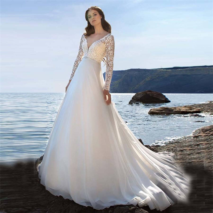 Lange Ärmel Lace A-line Brautkleider 2020 bescheidene kundenspezifische Brautkleider formale Chiffon Rock Vestidos de Mariee Plus Größe