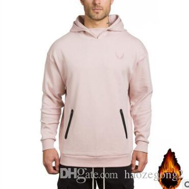 2019 Men Hoodies Pocket Embroider Side Zipper Gyms Bodybuilding Sweatshirt solid color Cotton Sweatshirts thick warm long-sleeved sweater