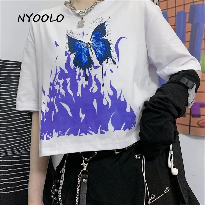NYOOLO 2020 llama mariposa de la impresión de la manga corta camiseta ropa de las mujeres de Harajuku O-cuello de las tapas de punk camiseta camisa de verano streetwear