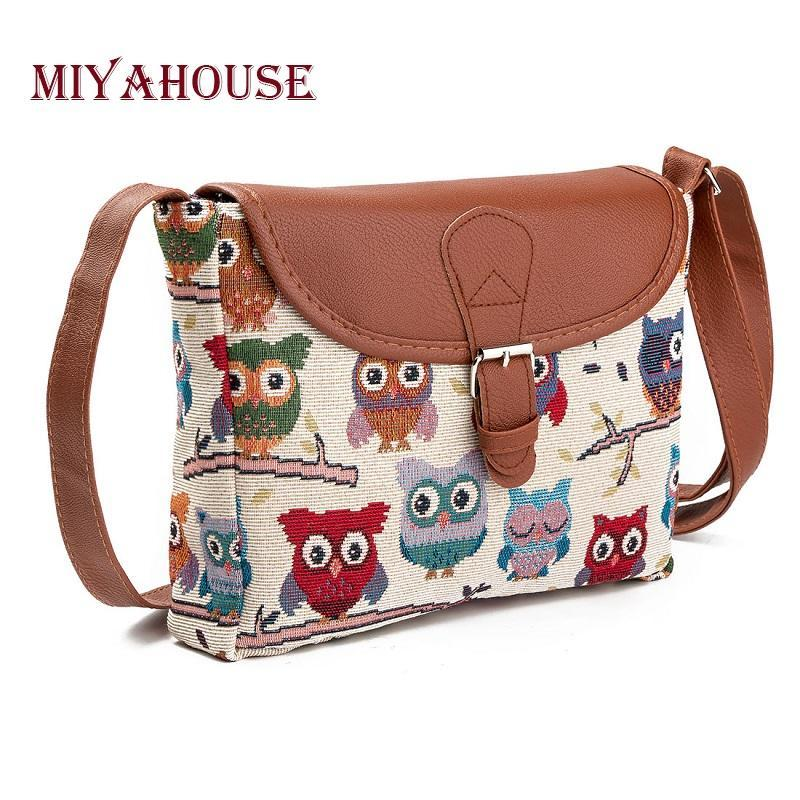 Miyahouse Summer Women Messenger Bags Flap Bag Lady Canvas Cartoon Owl Printed Crossbody Shoulder Bags Small Female Handbags K4454