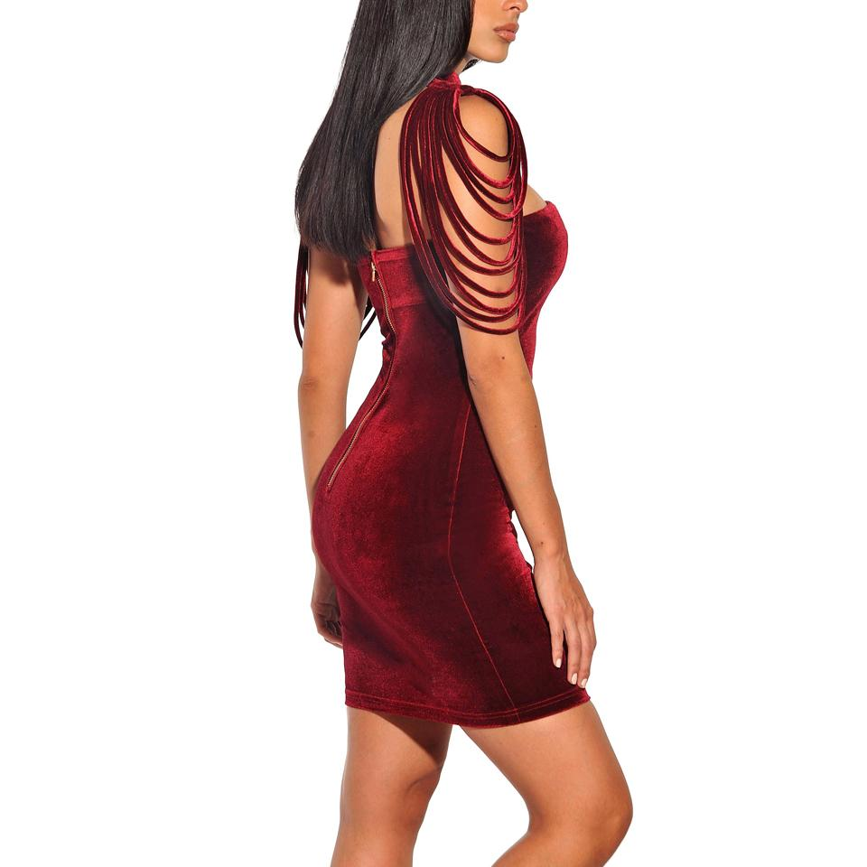 Wholesale-Karlofea Fashion Women Sleeveless Mini Dress Vintage Outfit Casual Dress Removable Collar Stretch Velvet Strapless Bodycon