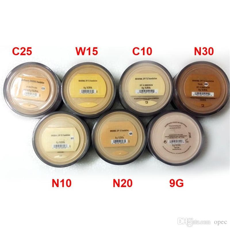 Venda quente Maquiagem Minerais Fundação 8g Médio / Luz / Justo / Tan / Bastante Leve / Médio Bege / Mineral Vail alta qualidade DHL navio livre