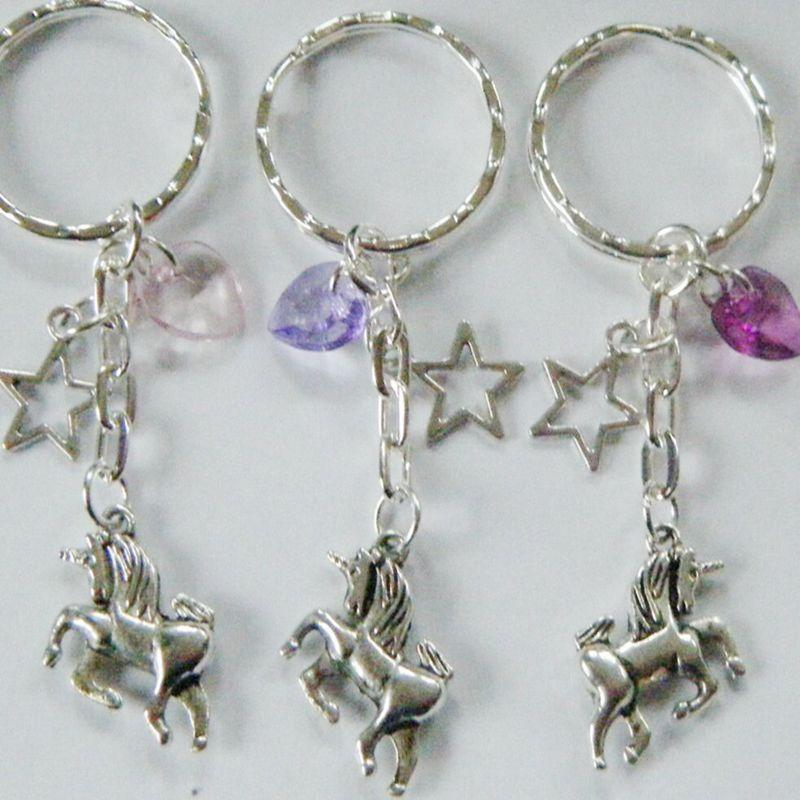 Unicorn Horse Keychain Vintage Silver Star Acrylic Heart Amulet Key Chains Ring For Keys Car Bag Key Ring Handbag wedding Gift