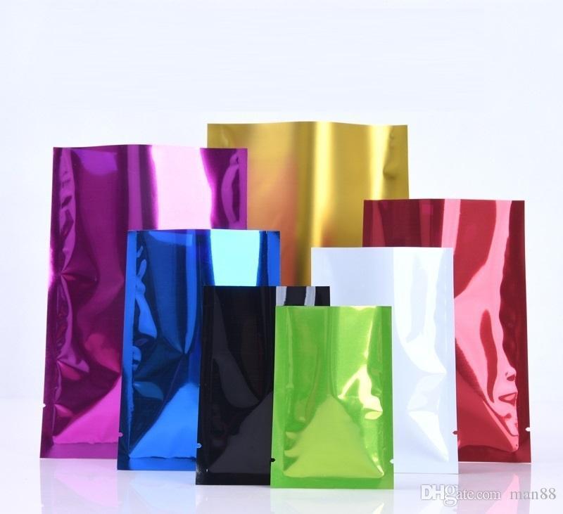 12 * 18cm 16Silk Renk Alüminyum Kaplama Poşet Toz Alüminyum Folyo Çanta Plastik Gıda Vakum Poşet