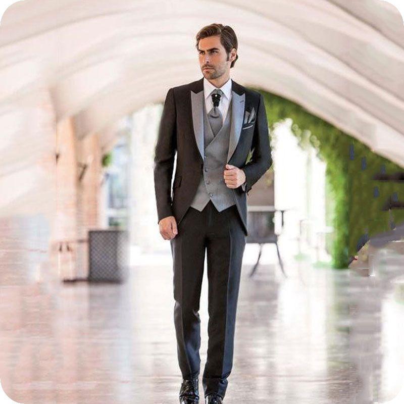 Italy Grey Peaked Design Men Suits for Wedding Black Groom Tuxedos Slim Fit Groomsmen Oufits Costume Homme Costume Attire Man Blazer 3Piece