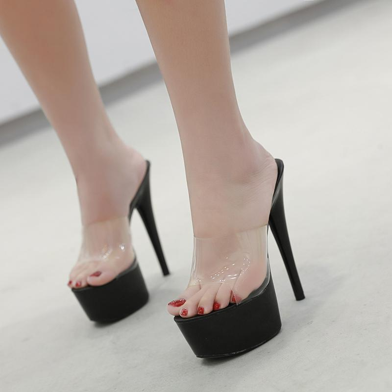 2019 Summer Slippers 6 Color Red White Black Women Platform Shoes Sexy Nightclubs T stage Shows High Heels 15cm Plus-size 34-41