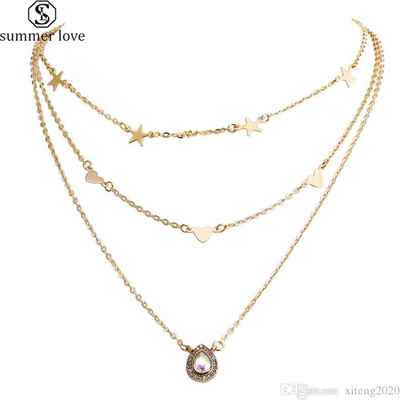 Wholesale Fashion Multilayer Necklace And Ladies Star Heart Teardrop Pendant Girl Gold Necklace Long Necklaces 2020 Boho Shiny Charm Jewelry Gift Z Gold Chains Diamond Necklace From Xiteng2020 0 81 Dhgate Com