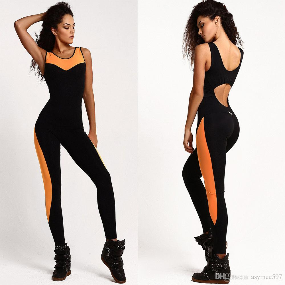 Lady's fashion sports yoga jumpsuits,sexy mesh patchwork women's sleeveless tracksuits, four colours 4 size choose