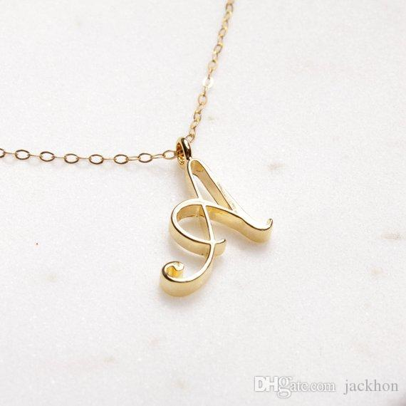 Крошечный свирль начальный алфавит письма ожерелье Все 26 английских золотых a-t recsive роскошный монограмма имени буквы цепные ожерелья для женщин мама