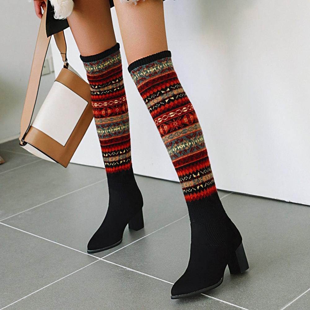 Tamaño 35-43 de invierno sobre la rodilla Botas Mujeres tela de estiramiento del muslo Warm tacones altos refrescan resbalón en Kneeth atractiva de la nieve patea los zapatos