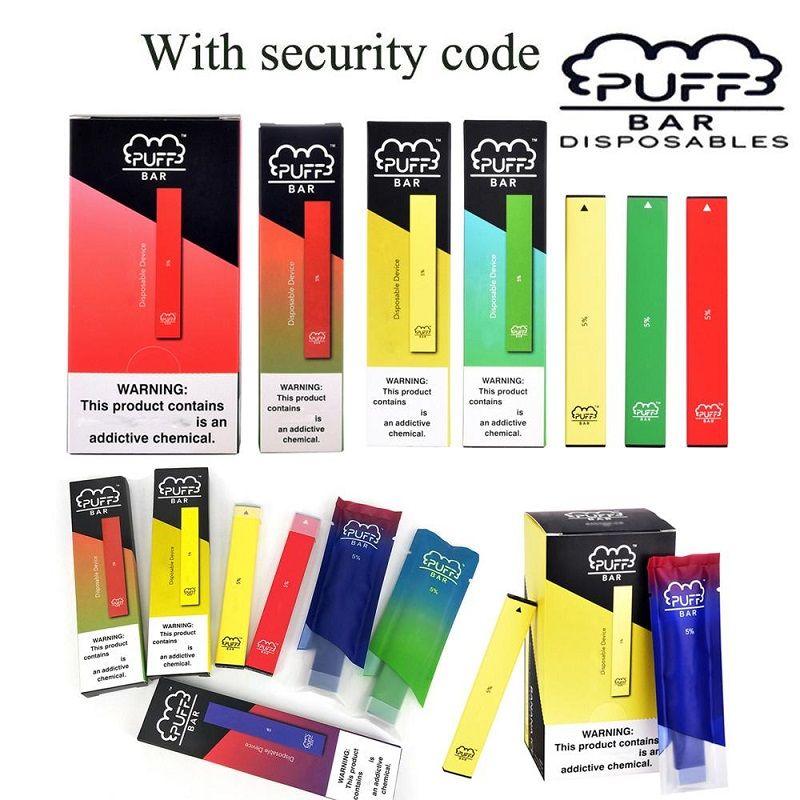 Puff Bar descartável Vape Pen dispositivo Pod Starter Kits E Cigarettes Vape vara 1,3ml Cartridge Embalagem 280mAh bateria vazia Pods vaporizador