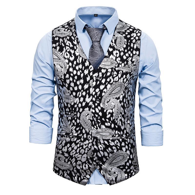 Abito da Disco Mens Oro Argento Pelle di leopardo Vest Paisley fiore metallizzato Suit Gilet Maschio da promenade del partito della maglia dello smoking Gilet Homme