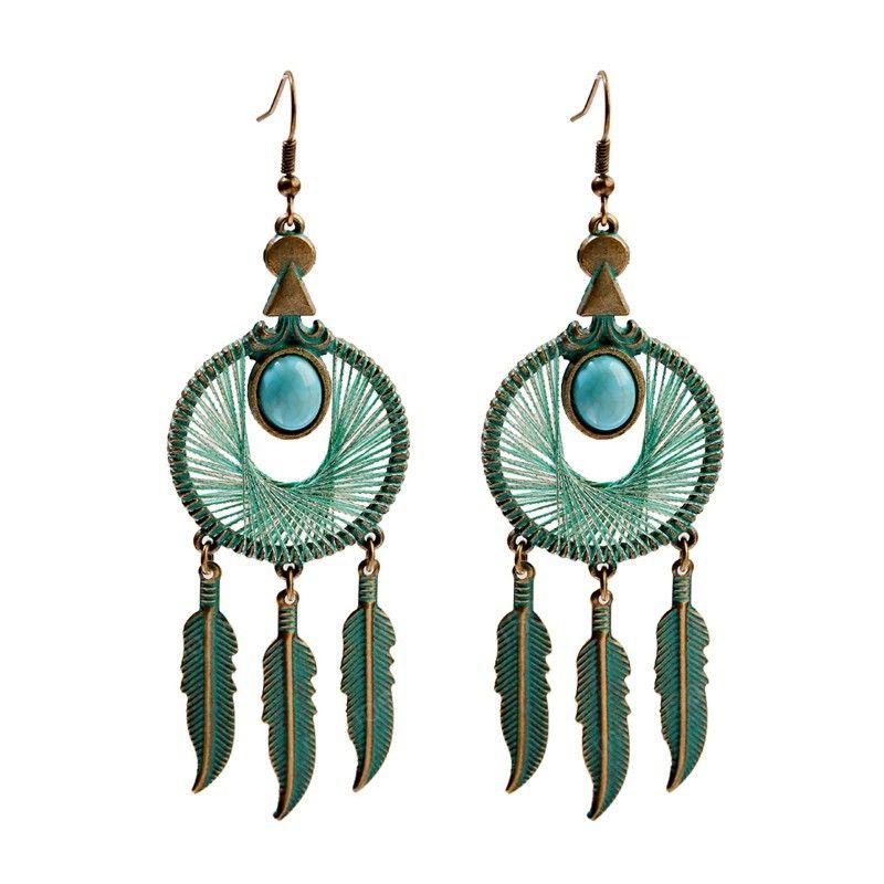 Bohême verte en soie ronde Feuille Tassel Boucles d'oreilles pour les femmes Vintage Pierre Boho Bijoux indien