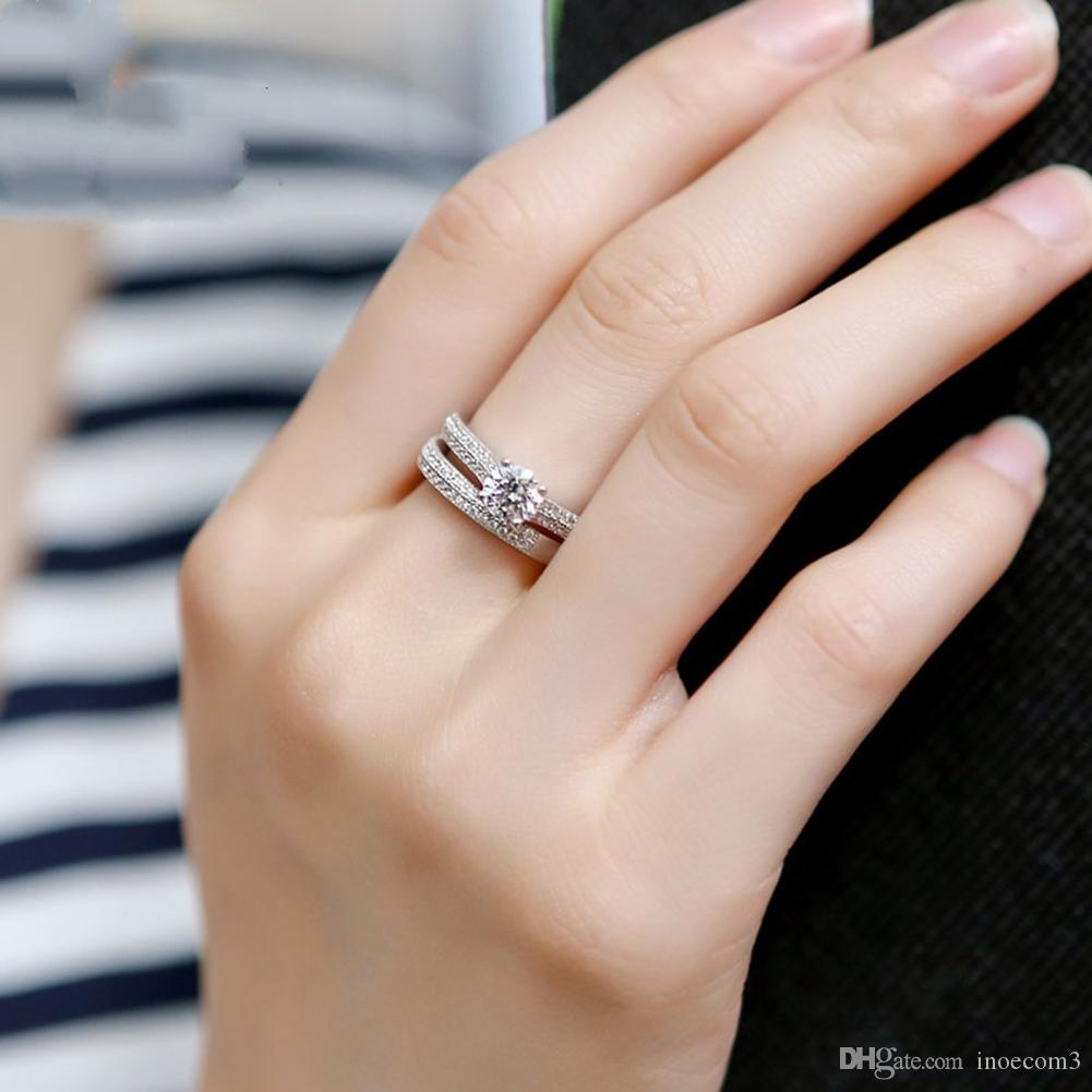 New Fashion Simple Silver Rose Gold Round Cut Cz Wedding Band Engagement Rings Set Women Party Gifts Wedding Bands For Women Rings For Women From Inoecom3 2 23 Dhgate Com