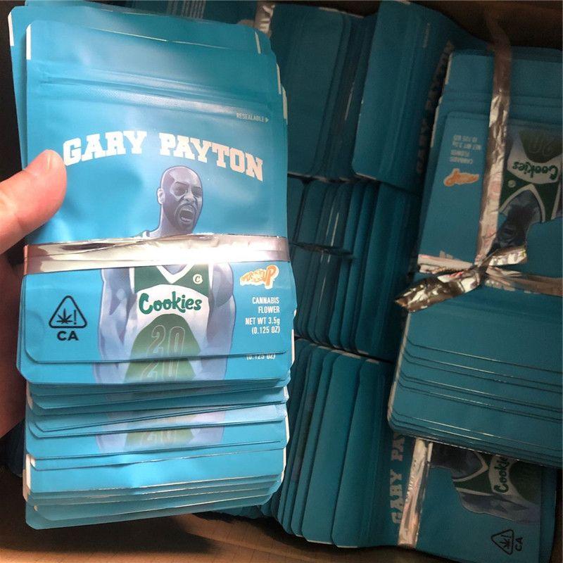 2020 SF Californie COOKIES NOUVEAU 8 3.5G Mylar Childproof Sacs Gelatti céréales Lait Gary Payton biscuits taille sac 3.5G-1/8 Sacs