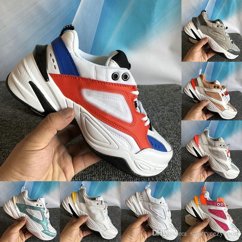 2020 sapatos novos pedaços M2K Tekno mens preto laranja branco khaki branco fresco matiz azul platina moda de luxo casuais as sapatilhas das mulheres