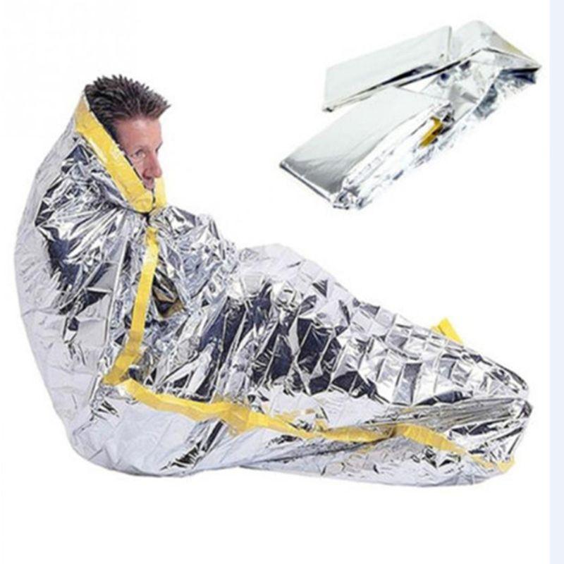 Portable waterproof reusable emergency sunscreen blanket silver foil camping survival warm outdoor adult children sleeping bag UHN12