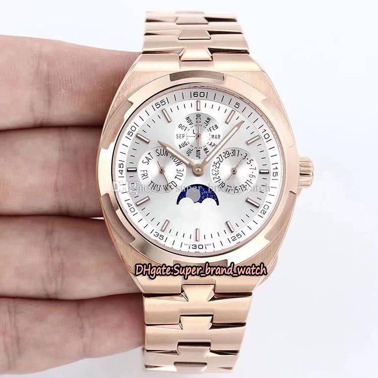 En versiyon Yurtdışı 4300V / 120R-B064 Beyaz Cal.1120QP Mekanik Ay Evresi Erkek İzle Safir Rose Gold Çelik Kasa Tasarımcı Saatler Dial