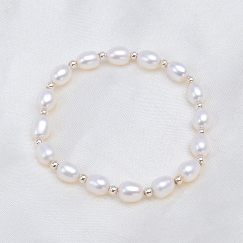 ASHIQI Genuine Rainbow Freshwater Pearl Charm Bracelets 6-7mm Natural Pearl 925 Sterling Silver bead for women