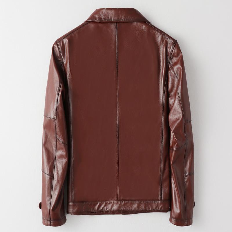 Brand Real Leather Cowhide Men Vintage Designer Business Zipper Short Coat Street Slim Fit Biker Jacket Oversize 5XL