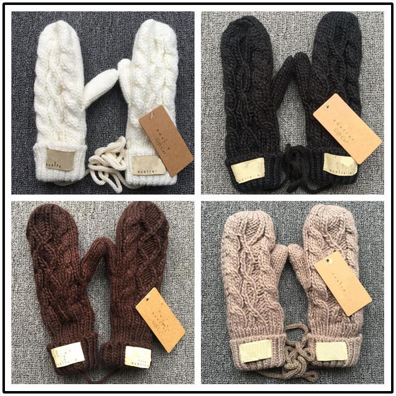 Marke UG Strick Twist Handschuhe mit Lanyard Winter-Fleece Warm Knit Hals hängen volle Finger-Handschuhe Damen Herren Solid Color Fäustling Weihnachtsgeschenk