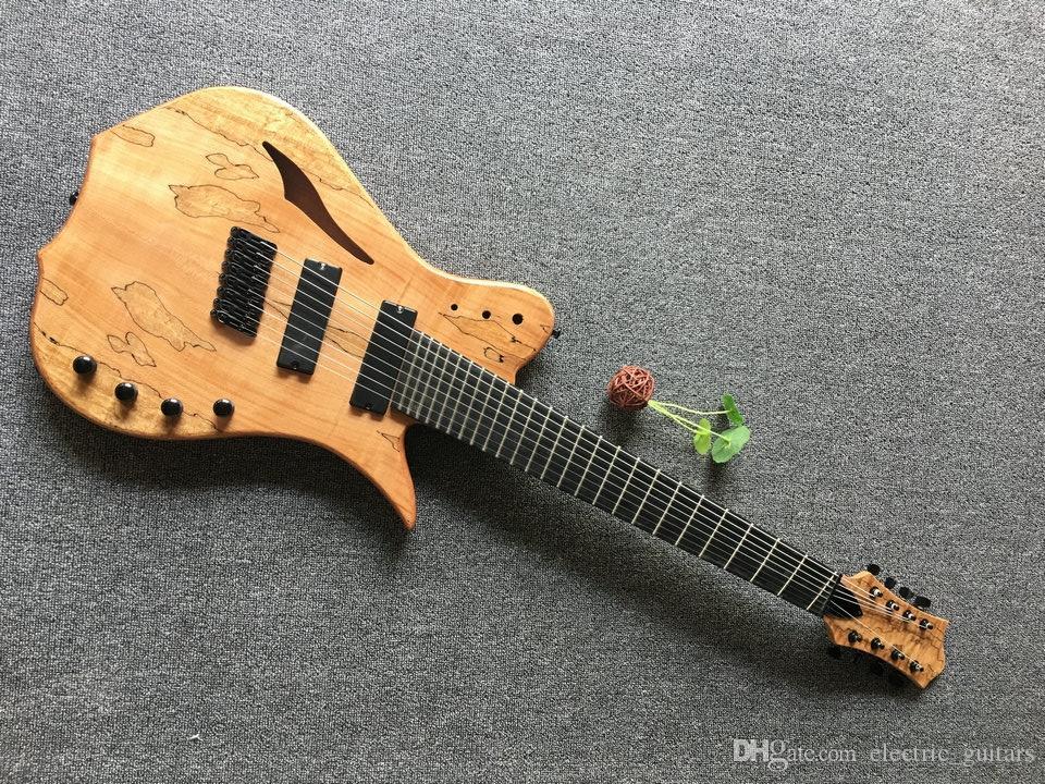 الجملة 8 سلسلة شكل الغيتار مخصص نموذج 8 سلسلة الغيتار الكهربائي الصلبة الخشب العناب الجسم الأبنوس باللون الطبيعي