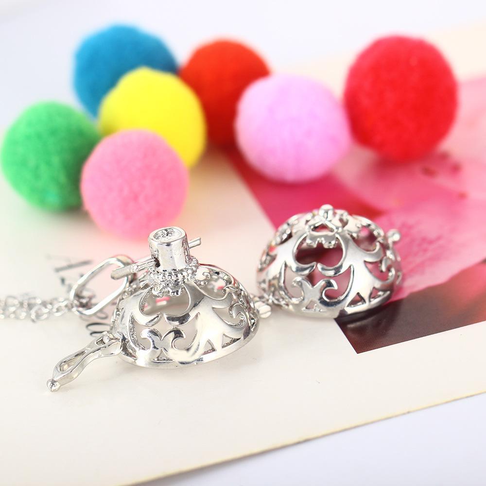 DIY ювелирные изделия ароматерапия эфирное масло диффузор ожерелье полый круглый эмаль цветочный узор медальон кулон женщины аромат ожерелья B441Q F