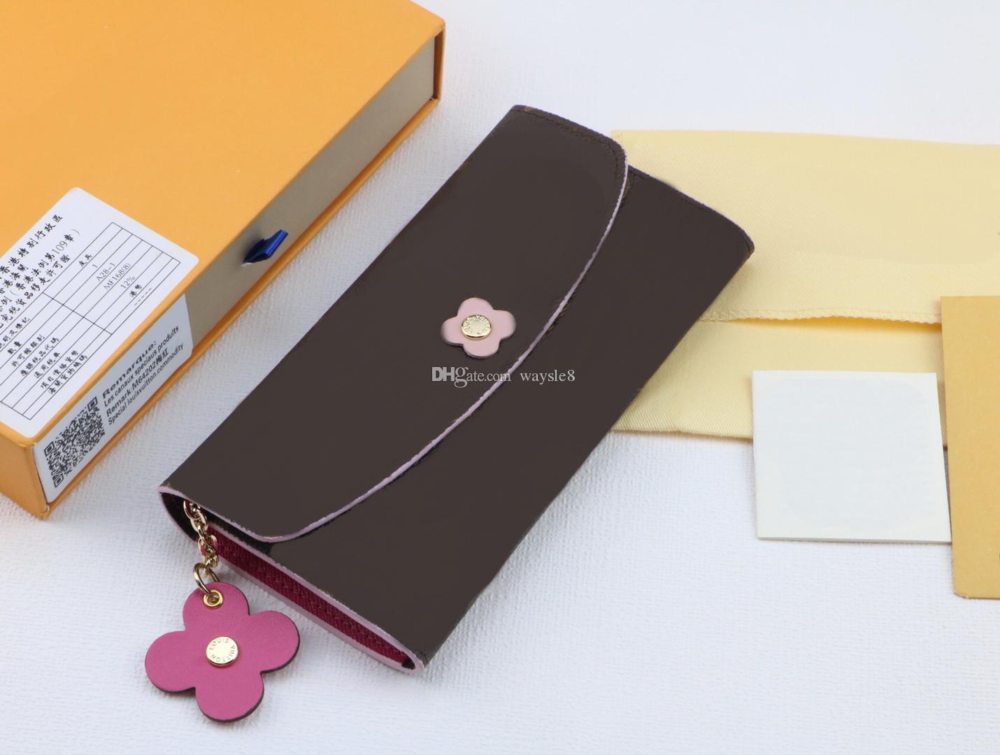 Femmes célèbres / hommes en cuir véritable titulaire de la carte Emilie sacs à main 19 cm livraison gratuite vente chaude pièce long Hasp portefeuilles avec boîte # 16