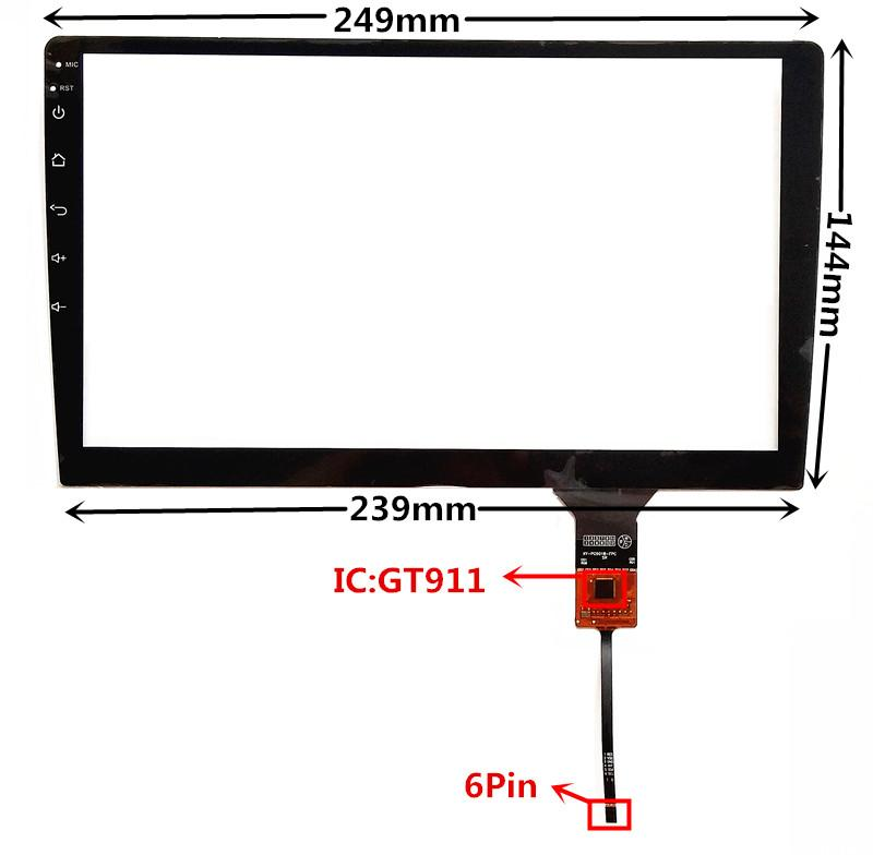 10.1 inch GT911 Capacitive Touch Digitizer for Car DVD GPS navigation multimedia Touch screen panel Glass