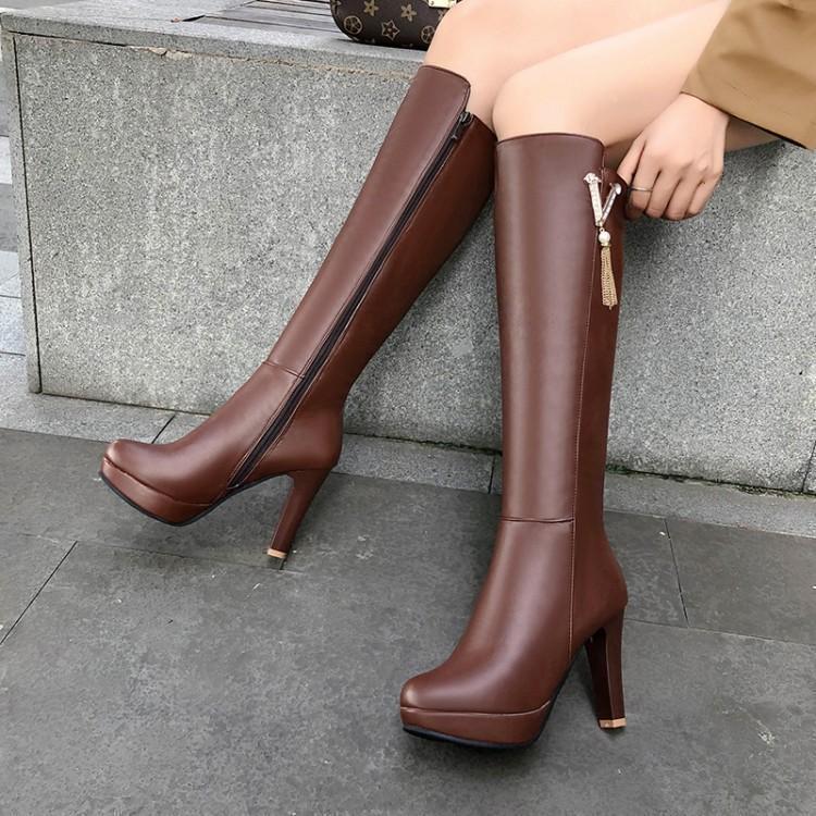 Gran pequeño tamaño 32 33 34 a 40 41 42 43 moda de invierno para mujer de altura de la rodilla altas botas de cuero PU vienen con la caja ry9