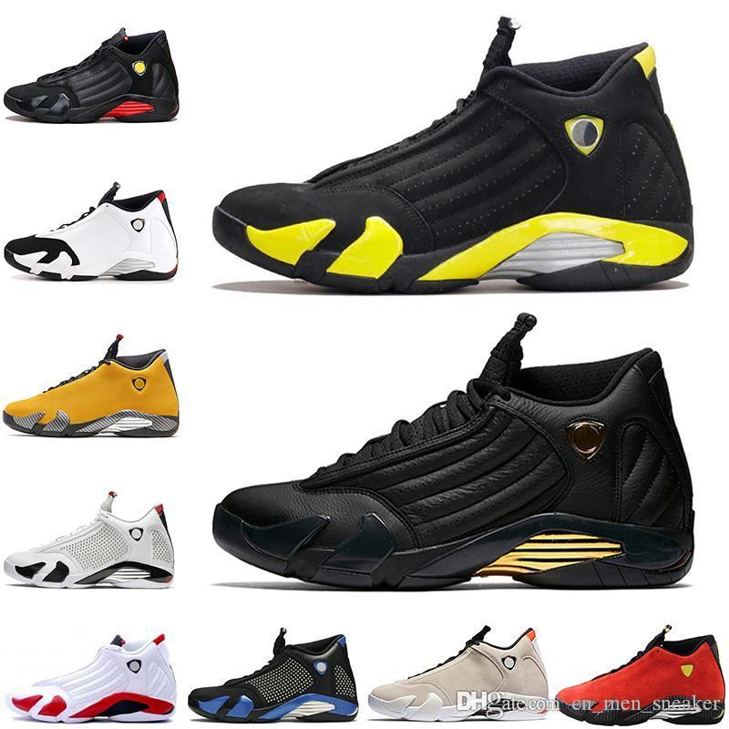 Sapatos de desconto DMP Trovão Azul Preto 14 14s amarelo preto reverso ouro Mens Basketball bastão de doces sapatilhas do desenhista Última Homens Esportes