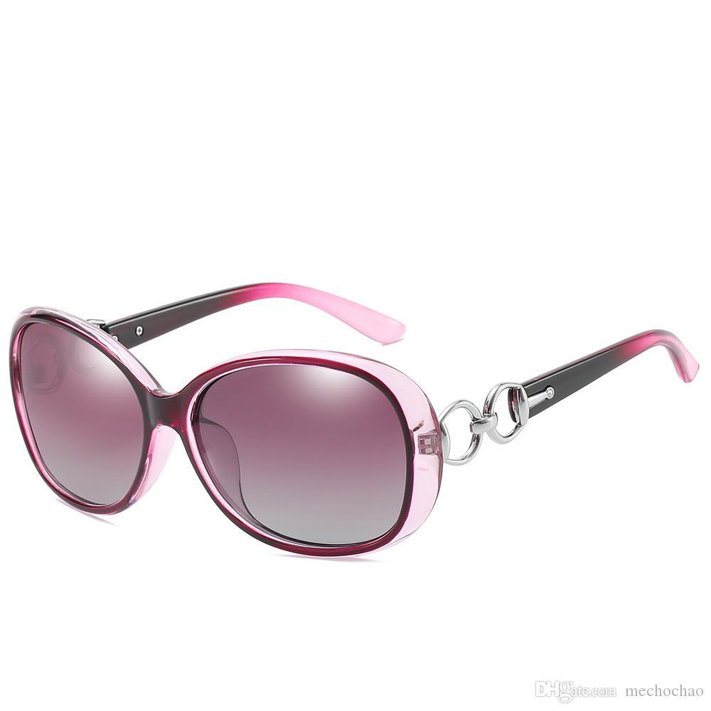 Gafas de sol redondas de gama alta para mujer Gafas de sol grandes con hebilla de herradura de diseñador de marca Gafas de sol ovales con montura grande para mujer UV400 para mujer