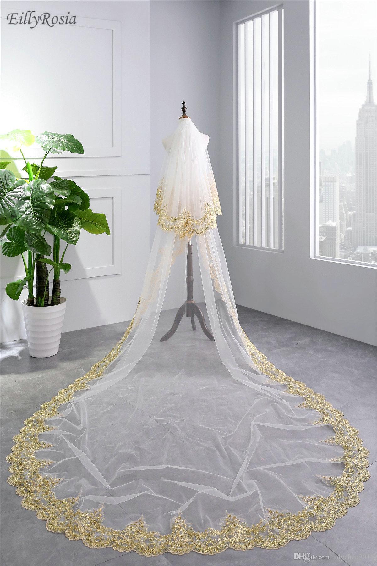 3.5M Lange Brautschleier für Braut Zwei Schicht Gold Spitze Applikationen Elegante Weiße Brautschleier mit Kamm Tüll Voile mariage
