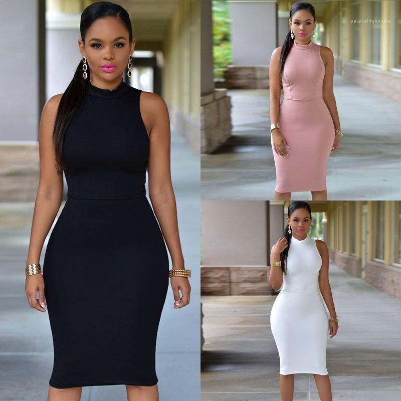 Vestidos Moda delgado ahueca hacia fuera el vestido sin mangas del verano señoras de O vestido de mujer cuello 2020 ajustado de la cadera del paquete elegante Sólido