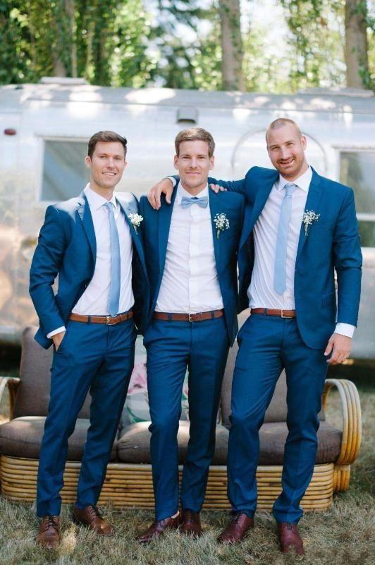 Royal Blue Slim Fit 2020 smoking dello sposo di nozze smoking Abiti su ordine Groomsmen Best Man Prom Abiti Pants