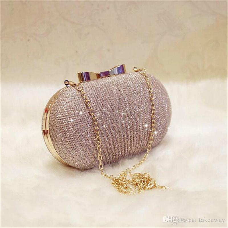 Sac de sac de chaîne doré femme mariée mariage brillant sac sacs sacs à main Brocks d'embrayage Embrayage en métal Soirée CIOIH