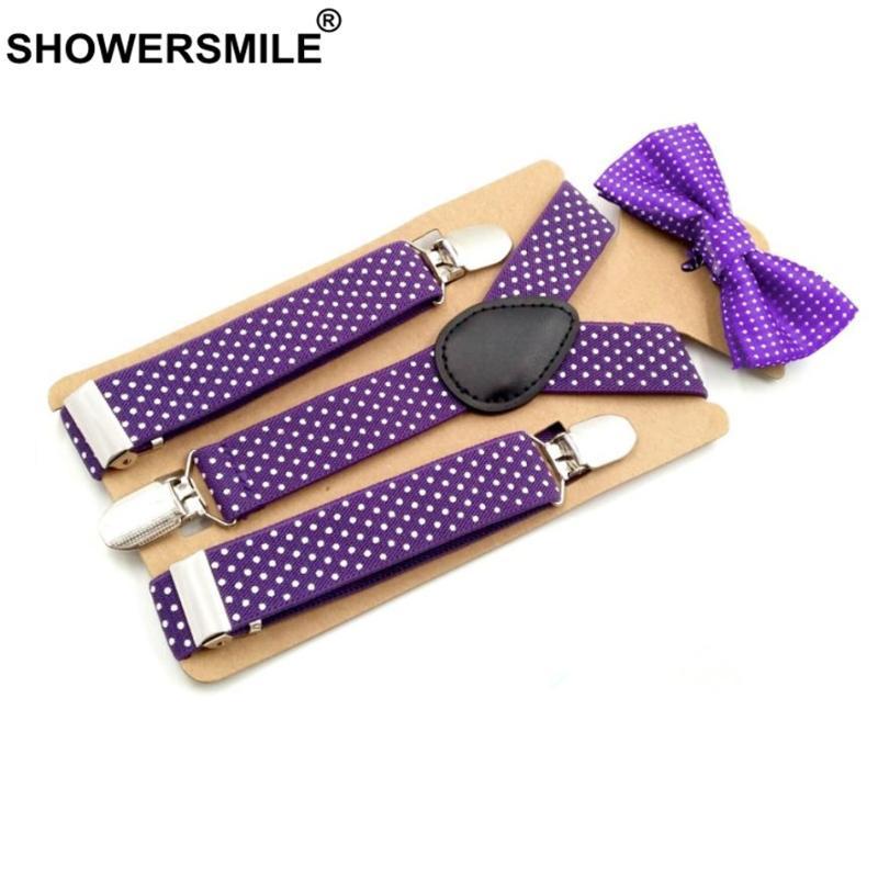 SHOWERSMILE enfants et Suspenders noeuds papillon pourpre Pantalons unisexe bretelles pour garçons Grils mariage Mode enfants Suspenders