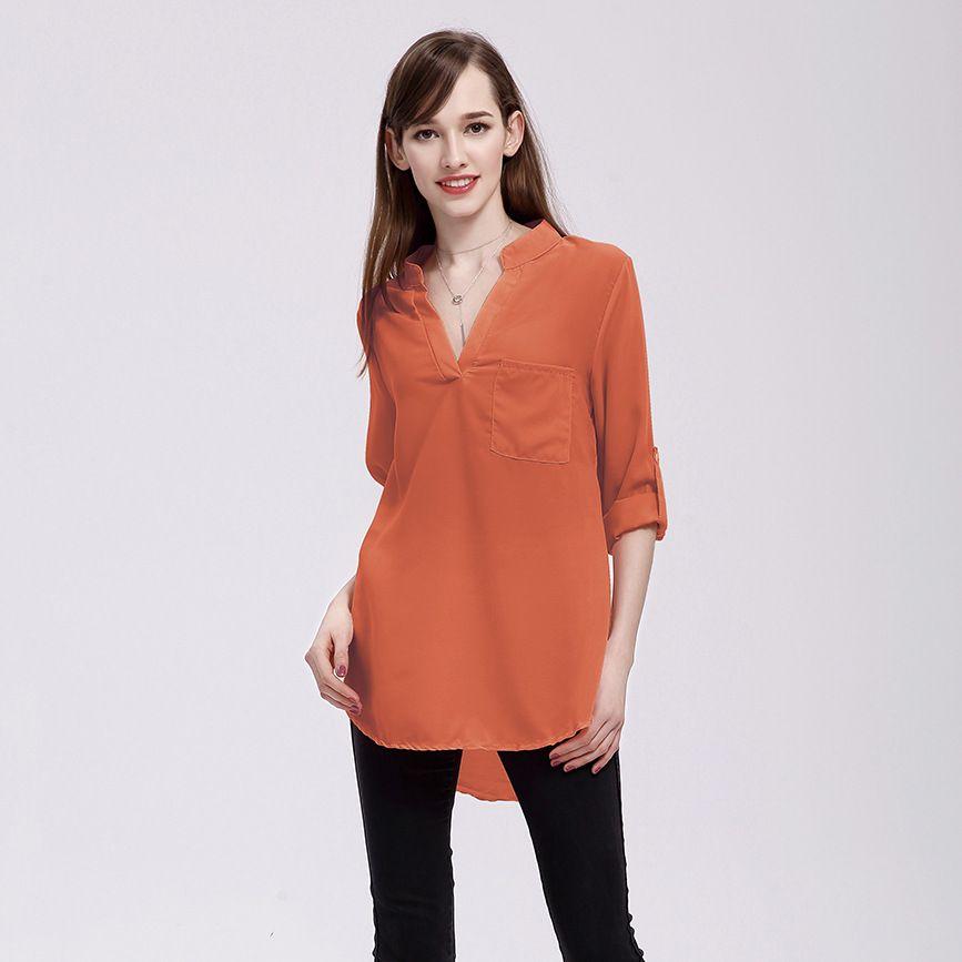 المصنع مباشرة الصيف كبيرة الحجم القميص الشيفون السيدات V الرقبة البلوزات تي شيرت جيوب S-5XL