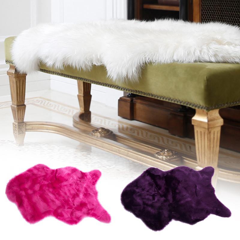 Couverture de chaise de fourrure en peluche douce housse de siège cadeau en laine tapis tapis décor