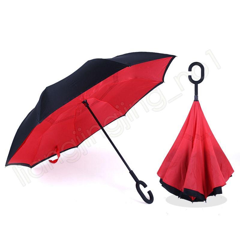 Double couche inverse Parapluie pliant mains libres permanent Ensoleillé Rainy Umbrella Inside Out Flamingo 40 coupe-vent de fleurs de style choisir HA410