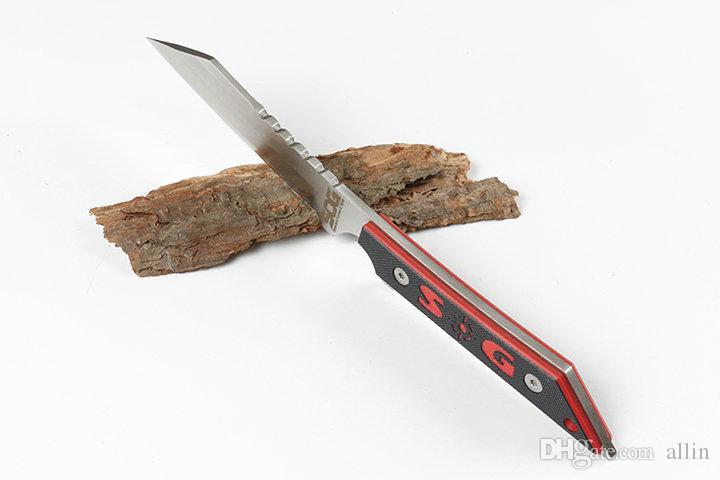 30pcs / lot Sog Couteau à lame fixe 440C satin Tanto Lame Full Tang G10 poignée droite Knifves cuir gaine