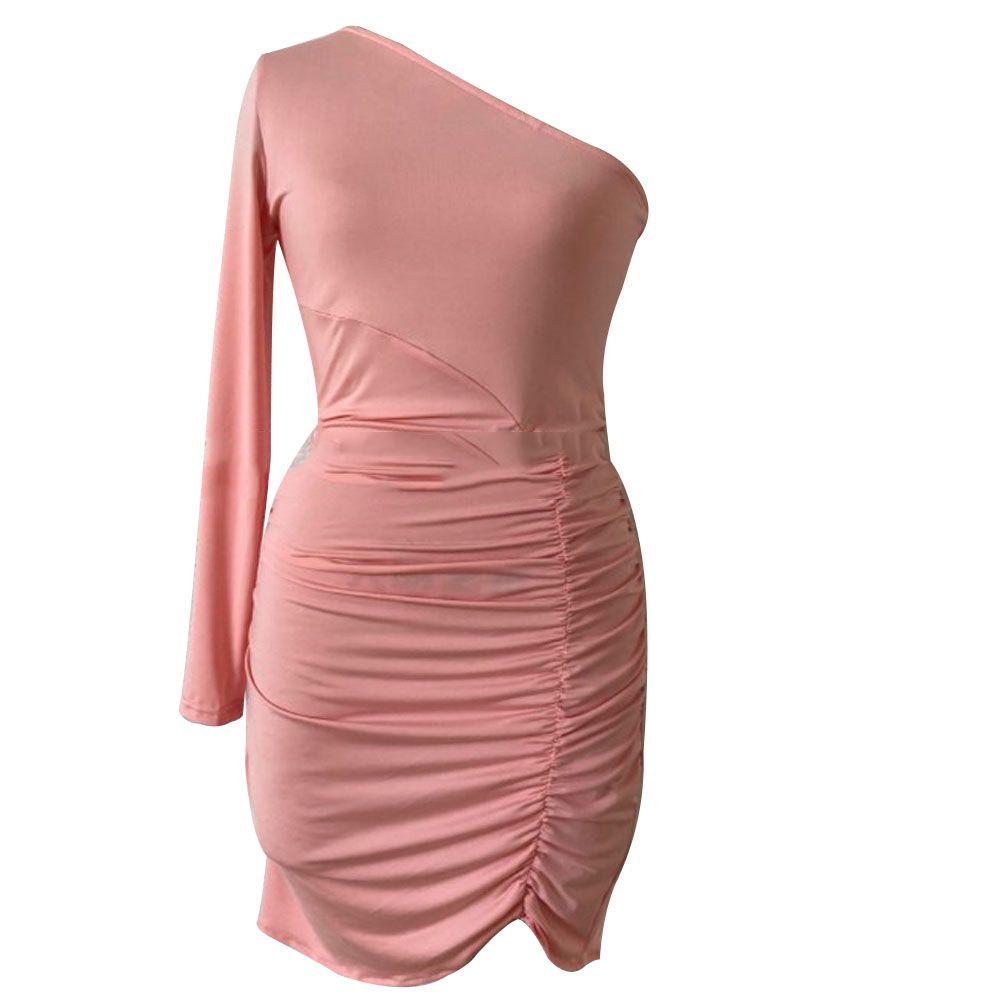 Womens Short Mini Dress Ladies Fashion Draped Bodycon One Shoulder Party Dress Sexy Clubwear