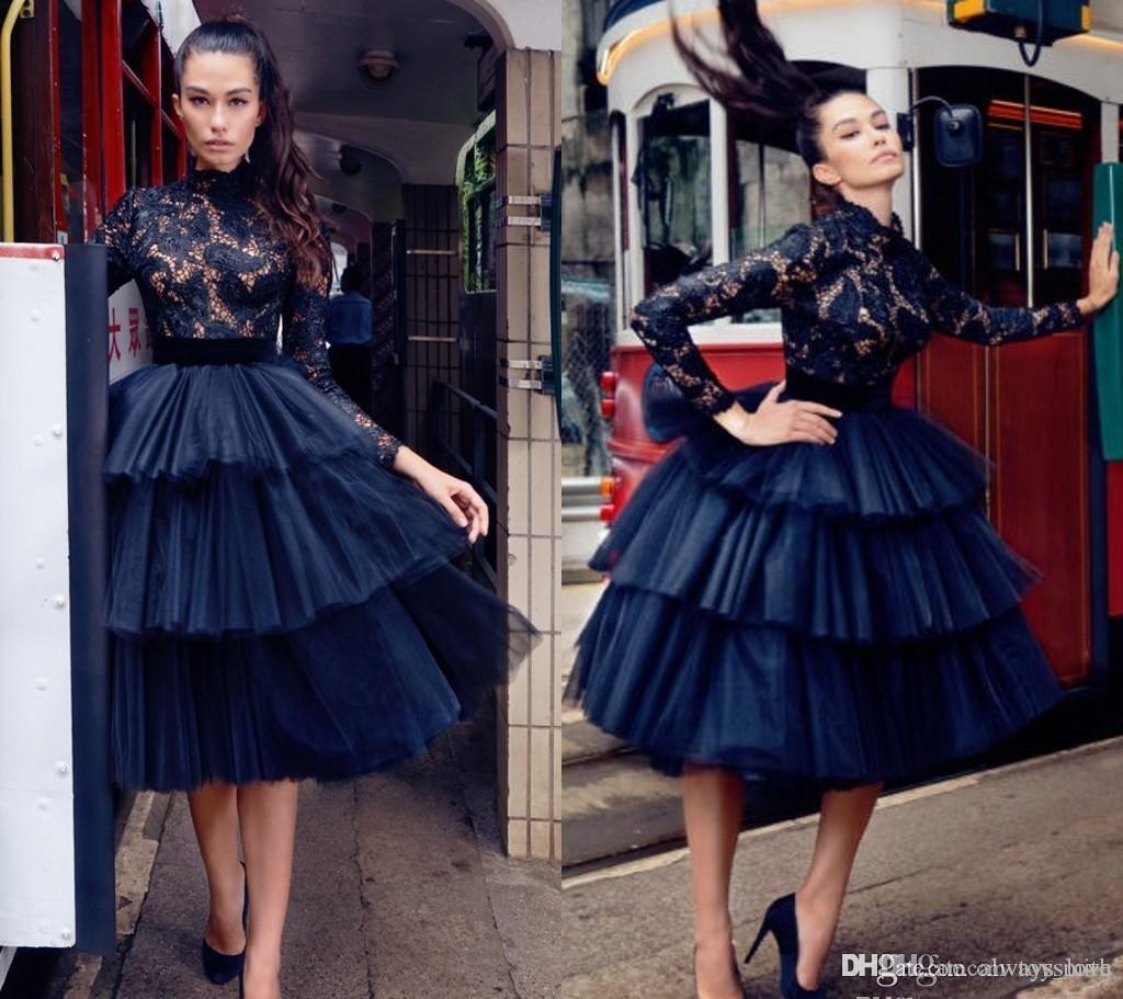 2019 Little Black Lace Arabisch Gothic Short Cocktailkleid High Neck Langarm Holiday Club Homecoming Party Kleid Plus Size Benutzerdefinierte machen