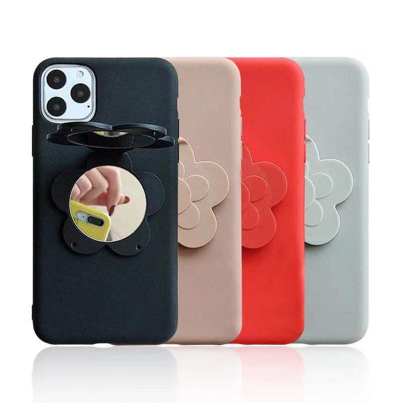 For iPhone 11 Pro Max Full Protection Liquid Silicone Phone Case Solid Candy Color Back Case With Mirror For iPhone 678 X-XR Plus