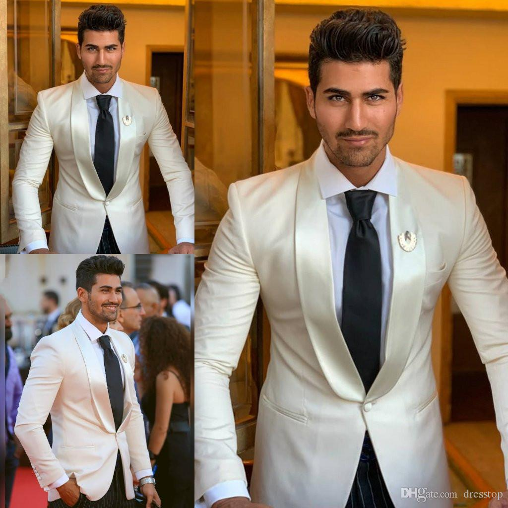 2019 Handsome Mens Suits Wedding Tuxedos Custom Made Shawl Lapel One Button Single Jacket Mens Formal Prom Gowns