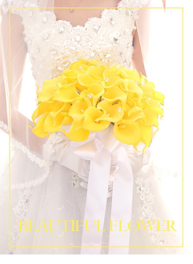 Romantic Wedding Bouquet da sposa giallo PU Calla Fiore Fiori floreali artificiali Home Fiori tavola di nozze fatti a mano
