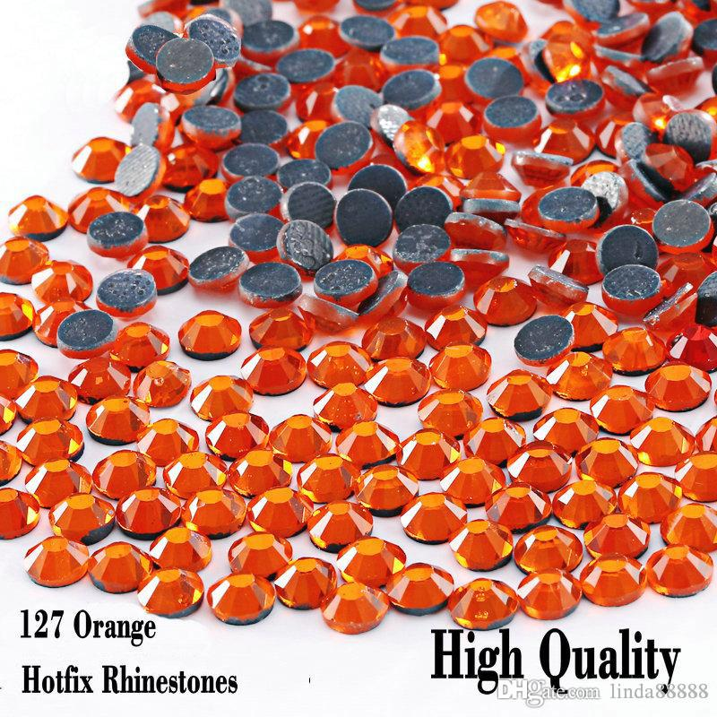 Small Bag Hotfix Rhinetones Flatback High Quality Iron On Hot Fix Rhinestones Orange For SS6 SS10 SS16 SS20 SS30